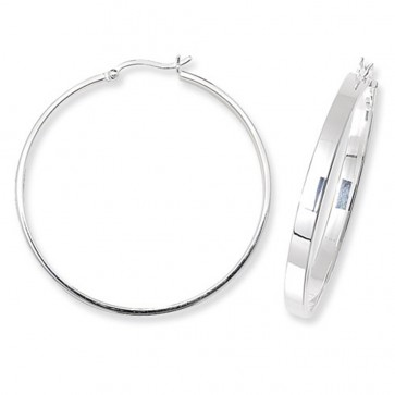 Sterling Silver 40MM Flat Hoop Earrings
