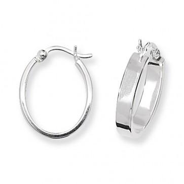 Sterling Silver Flat Oval Hoop Earrings