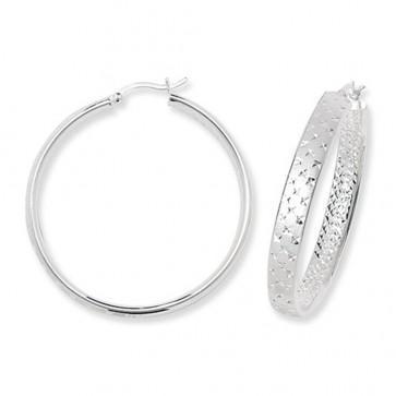 Sterling Silver 45MM Diamond Cut Frosted Hoop Earrings