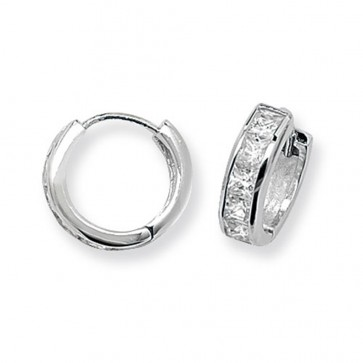Sterling Silver 15MM Cubic Zirconia Hoop Earrings