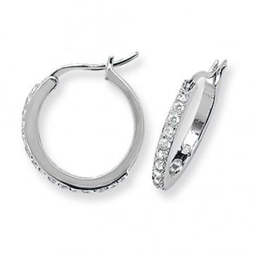 Sterling Silver 18MM Cubic Zirconia Hoop Earrings