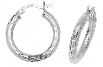 Sterling Silver 20MM Diamond Cut Hoop Earrings