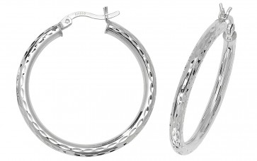 Sterling Silver 31MM Diamond Cut Hoop Earrings