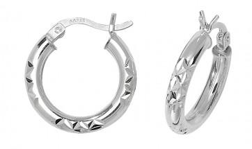 Sterling Silver 18MM Diamond Cut Hoop Earrings