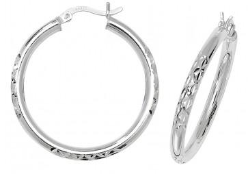 Sterling Silver 32MM Diamond Cut Hoop Earrings