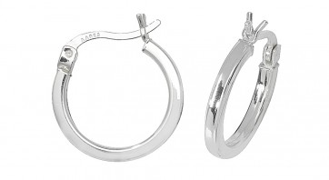 Sterling Silver 16MM Plain Square Tube Hoop Earrings
