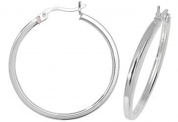 Sterling Silver 31MM Plain Square Tube Hoop Earrings