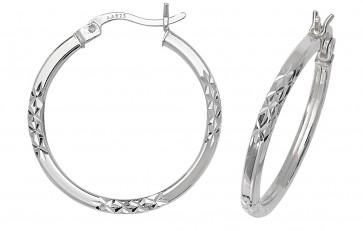 Sterling Silver 24MM Diamond Cut Square Tube Hoop Earrings