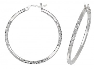 Sterling Silver 34MM Diamond Cut Square Tube Hoop Earrings