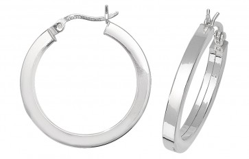 Sterling Silver 25MM Plain Square Tube Hoop Earrings