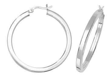 Sterling Silver 36MM Plain Square Tube Hoop Earrings