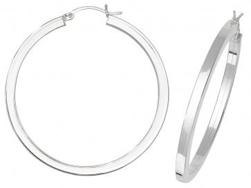 Sterling Silver 46MM Plain Square Tube Hoop Earrings