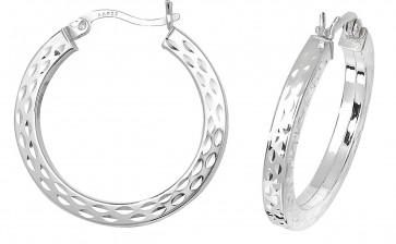 Sterling Silver 26MM Diamond Cut Square Tube Hoop Earrings