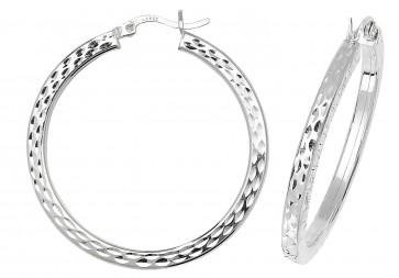 Sterling Silver 35MM Diamond Cut Square Tube Hoop Earrings