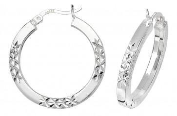 Sterling Silver 25MM Diamond Cut Square Tube Hoop Earrings