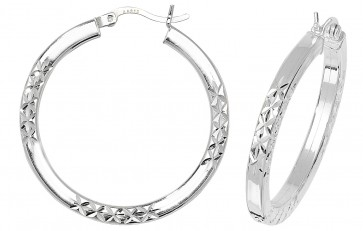 Sterling Silver 31MM Diamond Cut Square Tube Hoop Earrings