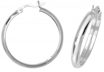 Sterling Silver 28MM Plain D-Shape Hoop Earrings
