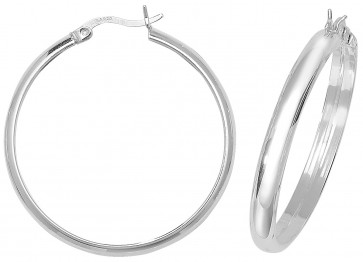 Sterling Silver 34MM Plain D-Shape Hoop Earrings