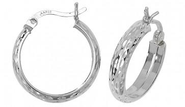 Sterling Silver 19MM Diamond Cut D-Shape Hoop Earrings