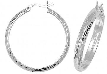 Sterling Silver 28MM Diamond Cut D-Shape Hoop Earrings