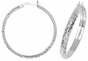 Sterling Silver 35MM Diamond Cut D-Shape Hoop Earrings