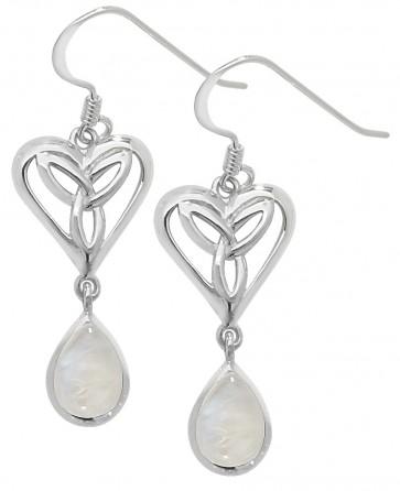 Sterling Silver Moonstone Celtic Drop Earrings