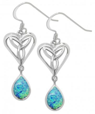 Sterling Silver Opal Celtic Drop Earrings