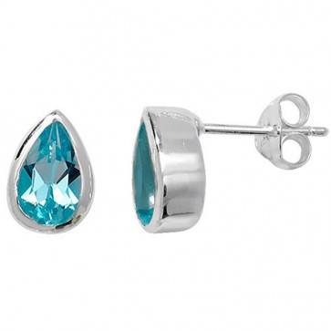 Sterling Silver Blue Topaz Celtic Teardrop Stud Earrings