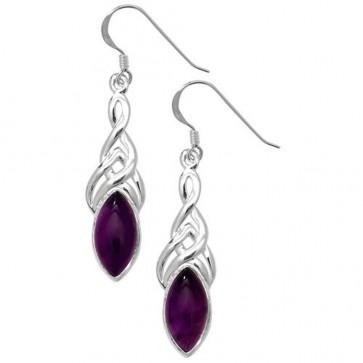 Sterling Silver Amethyst Cabochon Celtic Drop Earrings