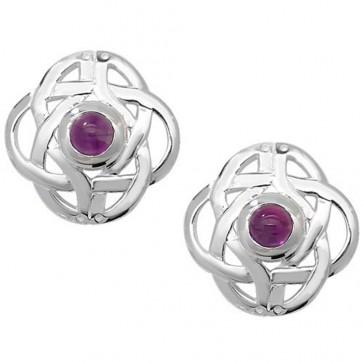 Sterling Silver Amethyst Cabochon Celtic Stud Earrings