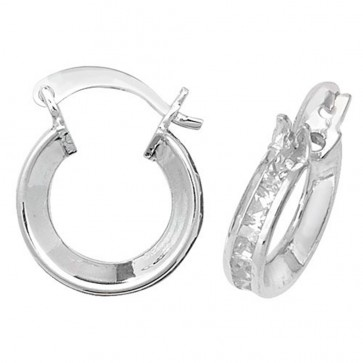 Sterling Silver 12MM Cubic Zirconia Hoop Earrings
