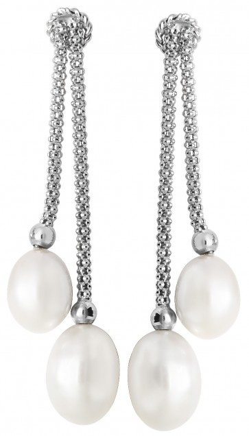Sterling Silver Freshwater Pearl Double Drop Earrings