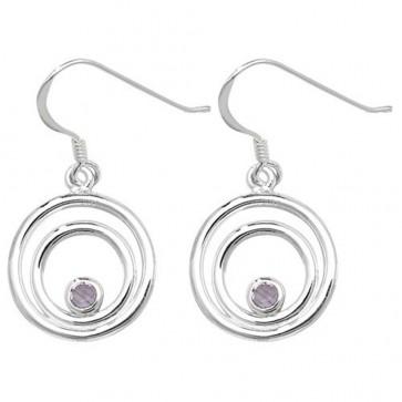 Sterling Silver Amethyst Celtic Drop Earrings