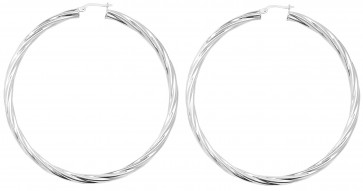 Sterling Silver 72MM Twisted Hoop Earrings