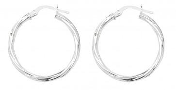 Sterling Silver 24MM Twisted Hoop Earrings