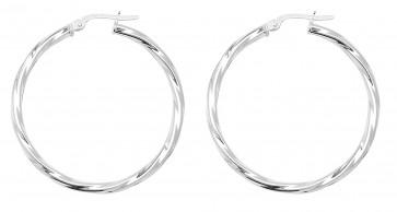 Sterling Silver 34MM Twisted Hoop Earrings