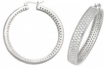 Sterling Silver 47MM Cubic Zirconia Hoop Earrings