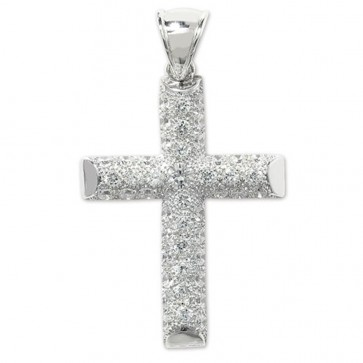 Men's Sterling Silver Large Bling Cross Pendant On A Black Leather Cord Necklace