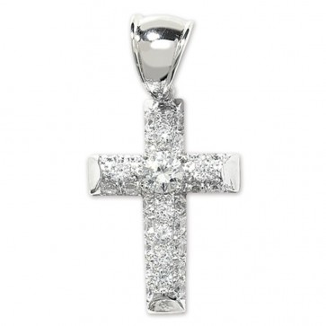 Children's Sterling Silver Small Bling Cross Pendant On A Curb Necklace