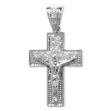 Men's Sterling Silver Bling Crucifix Pendant On A Black Leather Cord Necklace