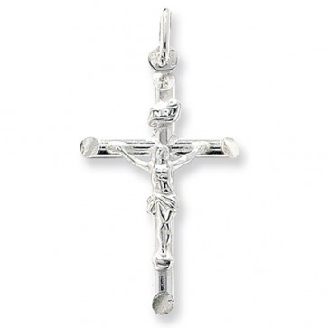 Sterling Silver Large Crucifix Pendant On A Snake Necklace