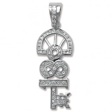 Sterling Silver Cubic Zirconia 18th Key Pendant On A Snake Necklace