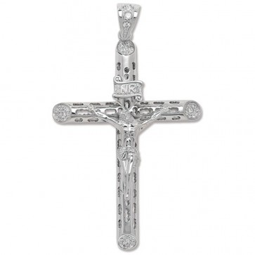Sterling Silver Large Bling Crucifix Pendant On A Snake Necklace