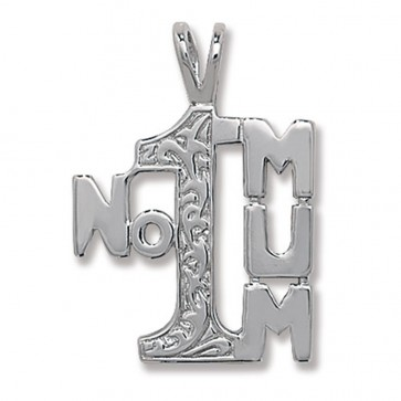 Sterling Silver Number 1 Mum Pendant On A Snake Necklace
