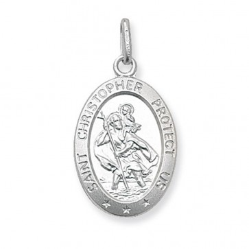 Men's Sterling Silver Large Solid Oval St Christopher Pendant On A Black Leather Cord Necklace