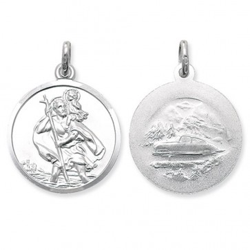 Children's Sterling Silver Large Round Double Sided St Christopher Pendant On A Curb Necklace