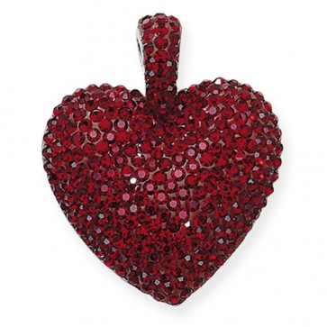 Children's Sterling Silver Red Crystal Heart Pendant On A Curb Necklace
