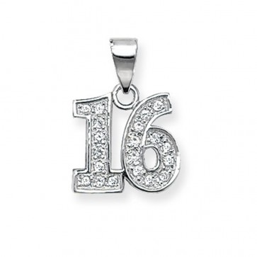 Children's Sterling Silver 16th Pendant On A Curb Necklace