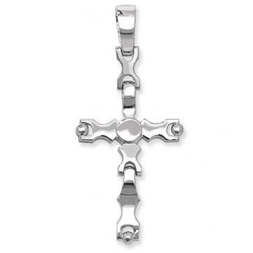 Men's Sterling Silver Small Cross Pendant On A Black Leather Cord Necklace
