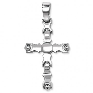 Men's Sterling Silver Large Cross Pendant On A Black Leather Cord Necklace
